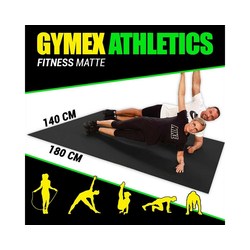 GYMEX Yogamatte GYMEX Fitness-Matte, XXL extra groß, rollbar, für Yoga, Sport & Fitness grau 140 cm x 180 cm x 0,5 cm