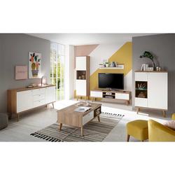 Wohnzimmerwand im Skandi Design Weiß und Eiche (6-teilig)