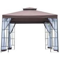 Outsunny Gartenpavillon 3 x 3 m kaffeebraun/weiß