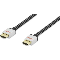 Ednet HDMI Anschlusskabel 1.00m 84480 Audio Return Channel, vergoldete Steckkontakte, gesleeved Schw