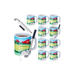 relaxdays Tasse 10 x Golftasse mit Schläger, Keramik