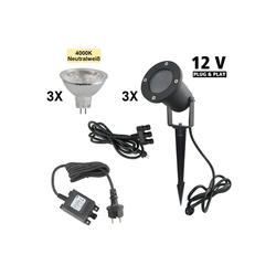 VBLED LED Gartenstrahler 3er Set Gartenstrahler 12V AC inkl. Leuchtmittel 5W neutralweiß, Erdspieß und Netzteil, LED Gartenstrahler