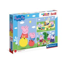 Clementoni® Puzzle Puzzle 3 x 48 Teile, Supercolor - Peppa Pig, Puzzleteile