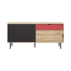 ebuy24 Sideboard Una Sideboard Eiche Struktur, koksgrau und terrako