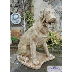 Hundefigur Rottweiler Hund Kampfhund Steinfigur 78cm 60kg (Farbe: ocker)
