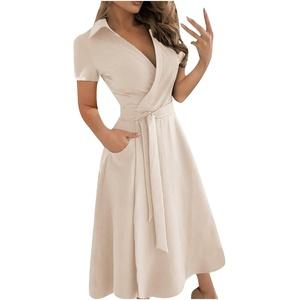 StarneA Sommerkleid Damen Lang, Abendkleider Elegant für Hochzeit Kurzarm Cocktailkleid Damen Abschlusskleid Sexy V Ausschnitt Ballkleid Lässiges Blusenkleid