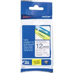Brother Schriftband Pastell TZe TZe-MQE31 Bandfarbe: Pastell-Rosa Schriftfarbe:Schwarz 12mm 4m