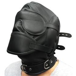 Leder Profi Kopfmaske schwarz mit Mundknebel