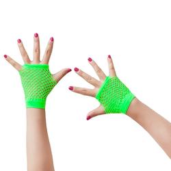 Netzhandschuhe kurz fingerlos Party Karneval Fasching - neon grün