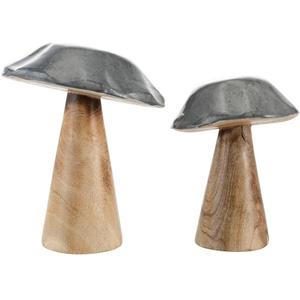 Dekofigur Pilz (Set, 2 Stück), aus Mangoholz natur 10/12,5x13/15 cm