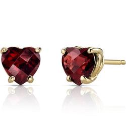 Granat-Herzen in goldenen Ohrringen Sebyna