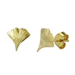 Gallay Paar Ohrstecker 9mm Ginkgoblatt glänzend 9Kt GOLD (inkl. Schmuckbox), Goldschmuck für Damen