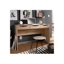FINEBUY Schreibtisch FB44268, Schreibtisch 120 cm Design Büro-Tisch in Sonoma Eiche Moderner Computer-Tisch mit 3 Schubladen und Stauraum Platzsparender Jugend-Schreibtisch auch für Laptop geeignet