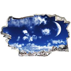 Wall-Art Wandtattoo Wolken Sticker 3D Mond Himmel (1 Stück) 40 cm x 20 cm x 0,1 cm