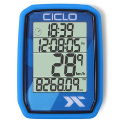 Ciclosport Fahrradcomputer Protos 105 Kabel Tacho ohne Tasten Fahrradtacho 4 Zeilen Display blau
