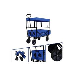 Arebos Bollerwagen Bollerwagen ECO mit Dach, Zusammenfaltbar, mit Ziehstange, Traglast 70 kg, Maße 117 x 55 x 125 cm blau