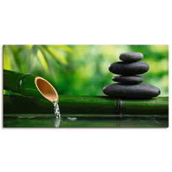 Artland Wandbild Bambusbrunnen und Zen-Stein, Zen (1 Stück) 150 cm x 75 cm