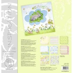 Glitterpapier Premium 30,5x30,5cm 300g/qm Ostern VE=6 Blatt Set