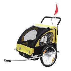 2 in1 Kinderfahrradanhänger / Jogger   Anhänger Fahrradanhänger Kinder Radanhänger schwarz/gelb