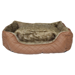 Pettimania Hundebett eckig Leder mit Fellbezug braun, Maße: 90 x 72 x 28 cm