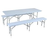 Strattore Bierzeltgarnitur Set Tisch und 2 Bänken hellgrau