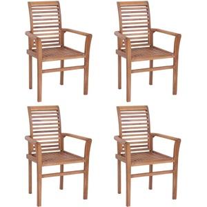 Gecheer Esstischstühle 4 STK. | Stapelbar Esszimmer Stuhl 4er Set | Holz Küchenstuhl | Garten Stapelstühle | Rustikal Gartenstühle | 62 x 56,5 x 94 cm (B x T x H)