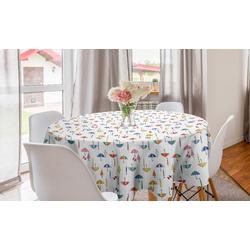 Abakuhaus Tischdecke Kreis Tischdecke Abdeckung für Esszimmer Küche Dekoration, Regenschirm Bunte Sonnenschirme Muster
