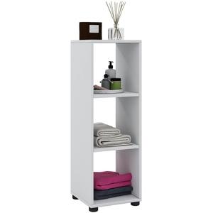 VCM Bandola ll Badezimmerschrank Regal, Holzdekor, Weiß, 93 x 31 x 30 cm