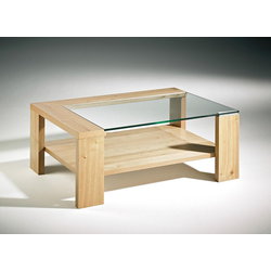 Couchtisch mit Klarglas Platte + Holzboden