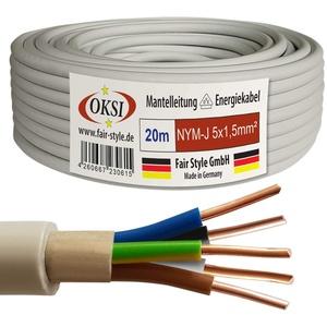 OKSI 20m NYM-J 5x1,5 mm2 Mantelleitung Feuchtraumkabel Elektrokabel Kupfer Made in Germany