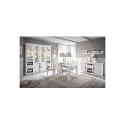 Lomadox Esszimmer-Set WINGST-61, (Spar-Set, 8-tlg), Esszimmer-Kombination 4-tlg im Landhaus-Stil Pinie weiß Nb. mit großem Buffet inkl. LED (ohne Stühle) Stellmaß Buffetschrank ca. 294 cm