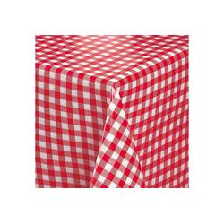 Melody Tischdecke Wachstuchtischdecke Wachstuch Gartentischdecke karo rot abwaschbar eckig rund oval, fleckenabweisend rund - 140 cm x 140 cm
