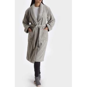 "URBANARA Bademantel ""Merouco"" – 100% Bio-Baumwolle, Hellgrau, Frottee Verwebung- Größe L/XL Morgenmantel, Saunamantel"