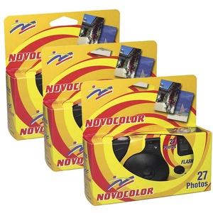 Novocolor Blitzkamera mit Blitz, 27 Aufnahmen mit Blitz, 3 Stück
