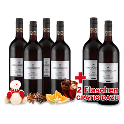 Vorteilspaket 6 Flaschen TEVERA Roter Winzerglühwein davon 2 Flaschen gratis