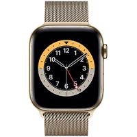 Apple Watch Series 6 GPS + Cellular 44 mm Edelstahlgehäuse gold, Milanaise Armband gold