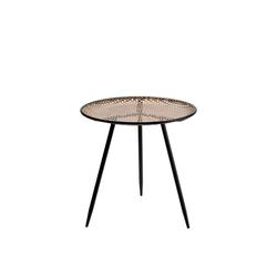 Cosy Home Ideas Beistelltisch Beistelltisch Metall Geflecht Rattan Optik beige schwarz Dreibein (1 Stück, 1x Beistelltisch rund), Metall in Geflecht Optik 28 cm