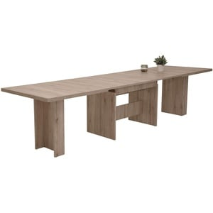 Kulissentisch Lia, Dekor Sandeiche, Wangengestell, ausziehbar 160-320x90x76