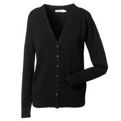 Damen Strickjacke mit V-Ausschnitt | Russell Collection black XS