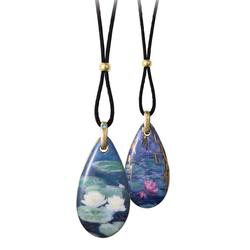 Goebel Kette mit Anhänger Drops Seerosen, Claude Monet, 66999051, mit Kristall blau