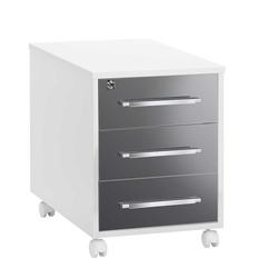 Schreibtisch Rollcontainer in Grau Weiß abschließbar