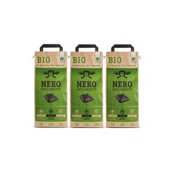NERO Kohlekorb BIO Grill Holzkohle Briketts - 3 x 2,5kg Sack - Garantiert ohne Tropenholz - Holz aus Deutschland