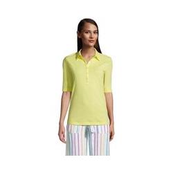 Poloshirt aus Leinenmix, Damen, Größe: L Normal, Gelb, by Lands' End, Gelb Zitrone - L - Gelb Zitrone