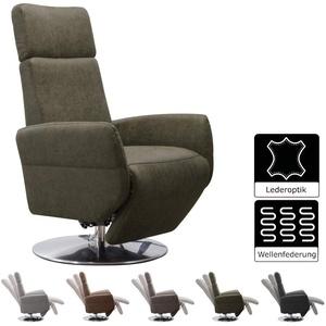 Cavadore TV-Sessel Cobra / Fernsehsessel mit Liegefunktion, Relaxfunktion / Stufenlos verstellbar / Ergonomie L / Belastbar bis 130 kg / 71 x 112 x 82 / Lederoptik Olive