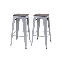 MCW Barhocker MCW-A73-Barhocker (Set, 2er), 2er-Set, Stapelbar, Fußstütze für bequemeres Sitzen grau