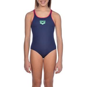arena Mädchen Sport Badeanzug Biglogo, navy-freak rose, 140