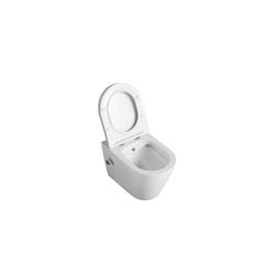 100% Bidet BIDET .Hänge-Dusch-WC spülrandlos Toilette inkl. Ventil & WC-Sitz mit Absenkautomatik + abnehmbar, Wandmontage weiß