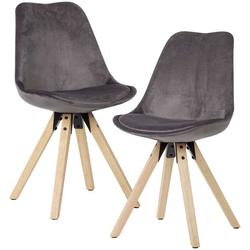Samt Stühle in Dunkelgrau Schalensitz (2er Set)