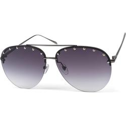 styleBREAKER Sonnenbrille Rahmenlose Piloten Sonnenbrille mit Nieten Getönt grau