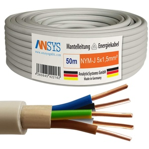 TechMech 50m NYM-J 5x1,5 mm2 Mantelleitung Feuchtraumkabel Elektrokabel Kupfer Made in Germany